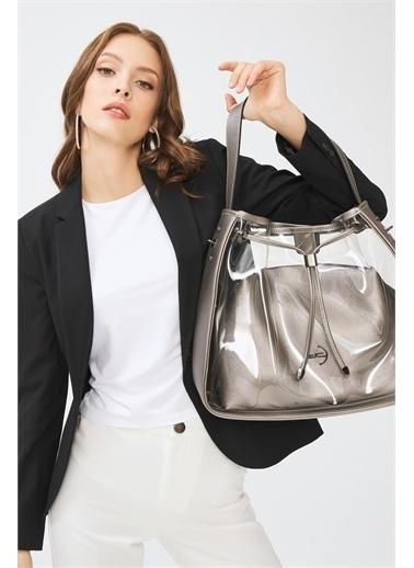 Deri Company Kadın Basic Omuz Çanta Transparan Düz Desen Logolu Gümüş (4032Gr) 214025 Gümüş
